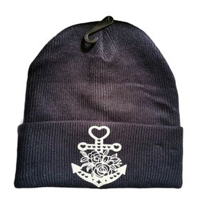 Anchor and Heart with Roses Winter Toque Black